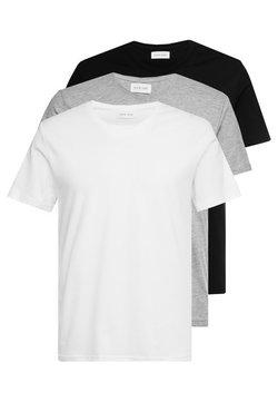 Pier One - 3 PACK  - T-shirt basic - white/black/light grey