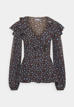 Missguided Tall - FLORAL FRILL DETAIL  - Bluse - brown