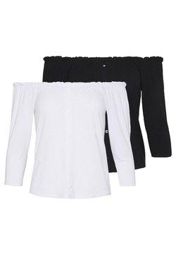 Dorothy Perkins Petite - PETITE 2 PACK SLEEVE MILKMAID - Maglietta a manica lunga - black / white