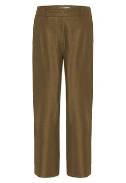 IVY & OAK - CULOTTE - Leather trousers - beige