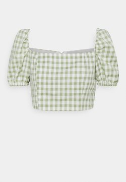 Glamorous Petite - TOP WITH PUFF SHORT SLEEVES AND LOW NECKLINE - Bluse - mint