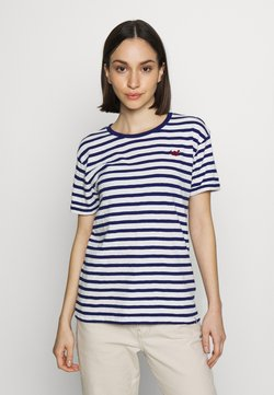 Scotch & Soda - EASY STRIPE TEE WITH CHEST EMBROIDERY - T-Shirt print - white/blue