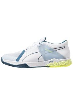 Puma - EXPLODE XT HYBRID 2 - Zapatillas de balonmano - white/grey dawn/safety yellow/gibraltar sea