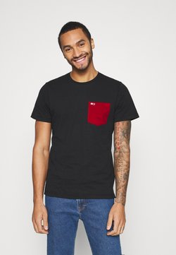 Tommy Jeans - CONTRAST POCKET TEE  - Printtipaita - black