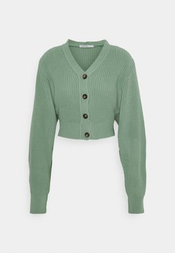 Glamorous Petite - CROPPED WITH LOW V NECK AND PUFF LONG SLEEVES - Vest - sage