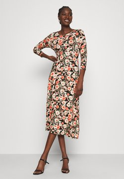 Dorothy Perkins - 3/4 SLEEVE EMPIRE SEAM MIDI DRESS - Vapaa-ajan mekko - black