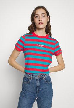Wrangler - STRIPED HIGH - T-Shirt print - bittersweet red