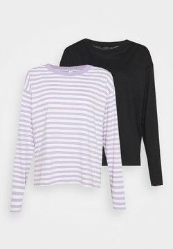 Monki - MAJA 2 PACK - Pitkähihainen paita - lilac purple/black solid