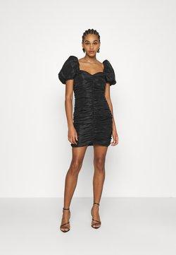 NA-KD - PUFFY SLEEVE DRAPED MINI DRESS - Cocktail dress / Party dress - black
