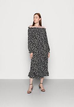 Missguided Tall - FLORAL BELTED FRILL HEM DRESS - Freizeitkleid - black