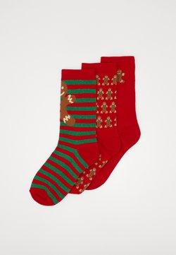 Urban Classics - CHRISTMAS GINGERBREAD SOCKS 3 PACK - Socken - red