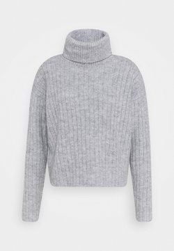 Even&Odd - RIBBED BOXY TURTLE NECK - Strickpullover - light grey