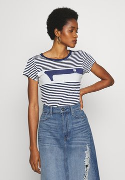 G-Star - LITMIC STRIPE GR ONE SLIM - T-Shirt print - milk/imperial blue stripe