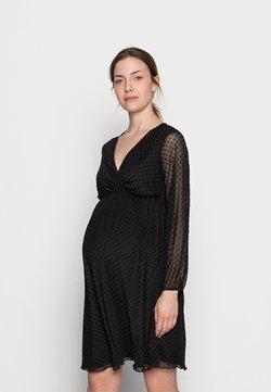 Dorothy Perkins Maternity - MATERNITY WRAP DOBBY DRESS - Jerseykleid - black