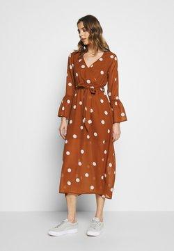 Wednesday's Girl - WRAP FRONT DRESS - Freizeitkleid - brown/white