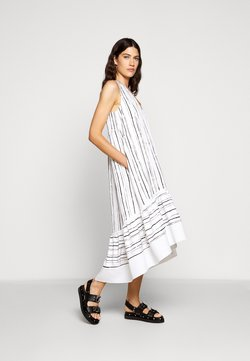 3.1 Phillip Lim - PAINTED STRIPE DRESS HIGH LOW HEM - Freizeitkleid - white