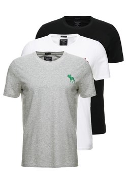 Abercrombie & Fitch - TRIPPLE EXPLOIDED ICON  3 PACK - Print T-shirt - black/white/grey