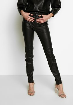 KARL LAGERFELD - LEATHER BIKER PANTS - Pantalon en cuir - black