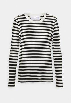 Selected Femme - SLFSTANDARD TEE  - Pitkähihainen paita - black/bright white