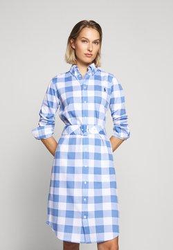 Polo Ralph Lauren - HEIDI LONG SLEEVE CASUAL DRESS - Vestido camisero - blue/white