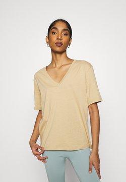 Weekday - LAST VNECK - T-shirt basic - beige