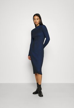 G-Star - PLATED LYNN DRESS MOCK - Strickkleid - imperial blue/dark black