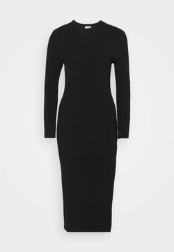 Cotton On - ELLA LONG SLEEVE SPLIT DRESS - Neulemekko - black