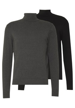 Pier One - 2 PACK - Pullover - black/mottled dark grey