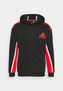 adidas Performance - HOODIE - Felpa aperta - black/red