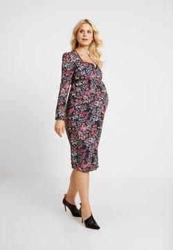 Hope & Ivy Maternity - SWEETHEART NECKLINE LONGSLEEVE MIDI DRESS - Cocktailkleid/festliches Kleid - red/black