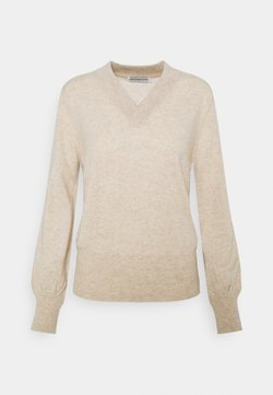 pure cashmere - V NECK BALLOON SLEEVE - Stickad tröja - oatmeal