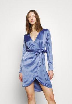 NU-IN - WRAP BALLOON SLEEVE MINI DRESS - Vestido de cóctel - blue