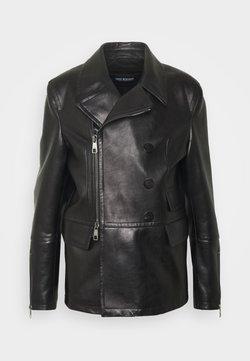 Neil Barrett - ZIP UP PEACOAT - Leren jas - black