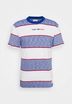 Tommy Jeans - STRIPE LINEAR LOGO TEE - T-Shirt print - blue