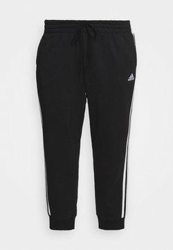 adidas Performance - ADIDAS ESSENTIALS FRENCH TERRY 3-STRIPES PANTS (PLUS SIZE) - Jogginghose - black/white
