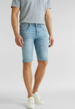 Esprit - MIT USED-WASCHUNG - Jeansshort - blue light washed