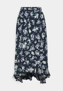 PIECES Tall - PCDAKOTA MIDI SKIRT TALL - A-Linien-Rock - sky captain/flowers