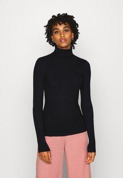 Even&Odd - BASIC- RIBBED TURTLE NECK - Jersey de punto - black