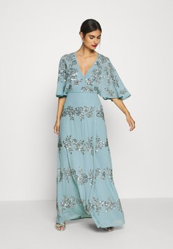 Maya Deluxe - WRAP FRONT ALL OVER EMBELLISHED CAPE MAXI DRESS - Vestido de fiesta - blue