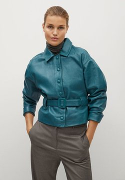Mango - BOOK-I - Leather jacket - grün