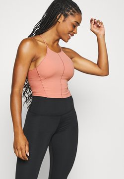Nike Performance - YOGA CROP TANK - Funktionsshirt - rust pink/particle beige