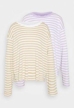 Monki - MAJA 2 PACK - Langarmshirt - lilac/solid white