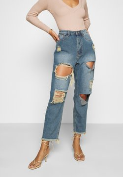 Missguided Petite - RIOT HIGH RISE RIPPED MOM AUTHENTIC - Jean boyfriend - blue