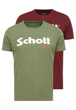 Schott - LOGO 2 PACK - T-shirt print - khaki/bordeaux