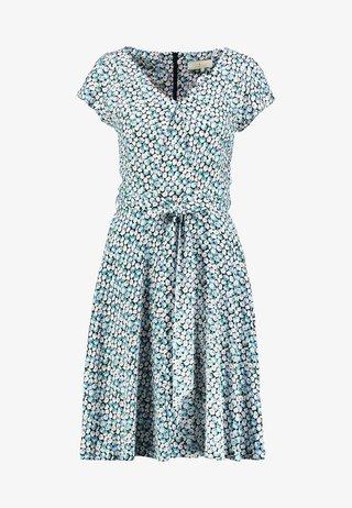 SHORT SLEEVE DIASY PRINT V NECK SOFT BELTED DRESS - Day dress - blue/white