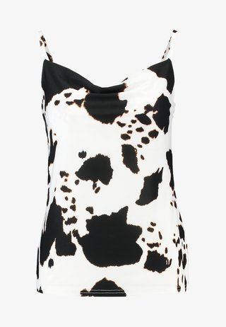 COW PRINT COWL NECK CAMI - Top - white/black