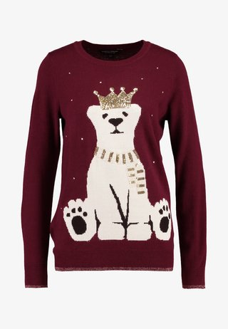 CHRISTMAS KING POLAR BEAR - Trui - burgundy