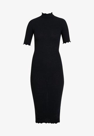 LETTICE EDGE TURTLENECK - Shift dress - black